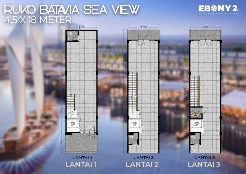 Tipe Unit Ruko Batavia – Ebony 2 Pantai Kita PIK2 (1)